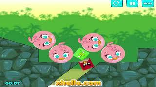 Angry Birds Kick Pigs - CHANGE SHRAPE SQUARE OR ROUND PIGGIES!