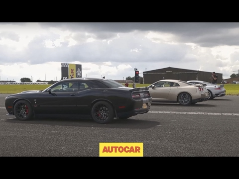 Drag race | USA v Europe v Japan | Dodge Challenger Hellcat vs Porsche 911 Turbo S vs Nissan GT-R