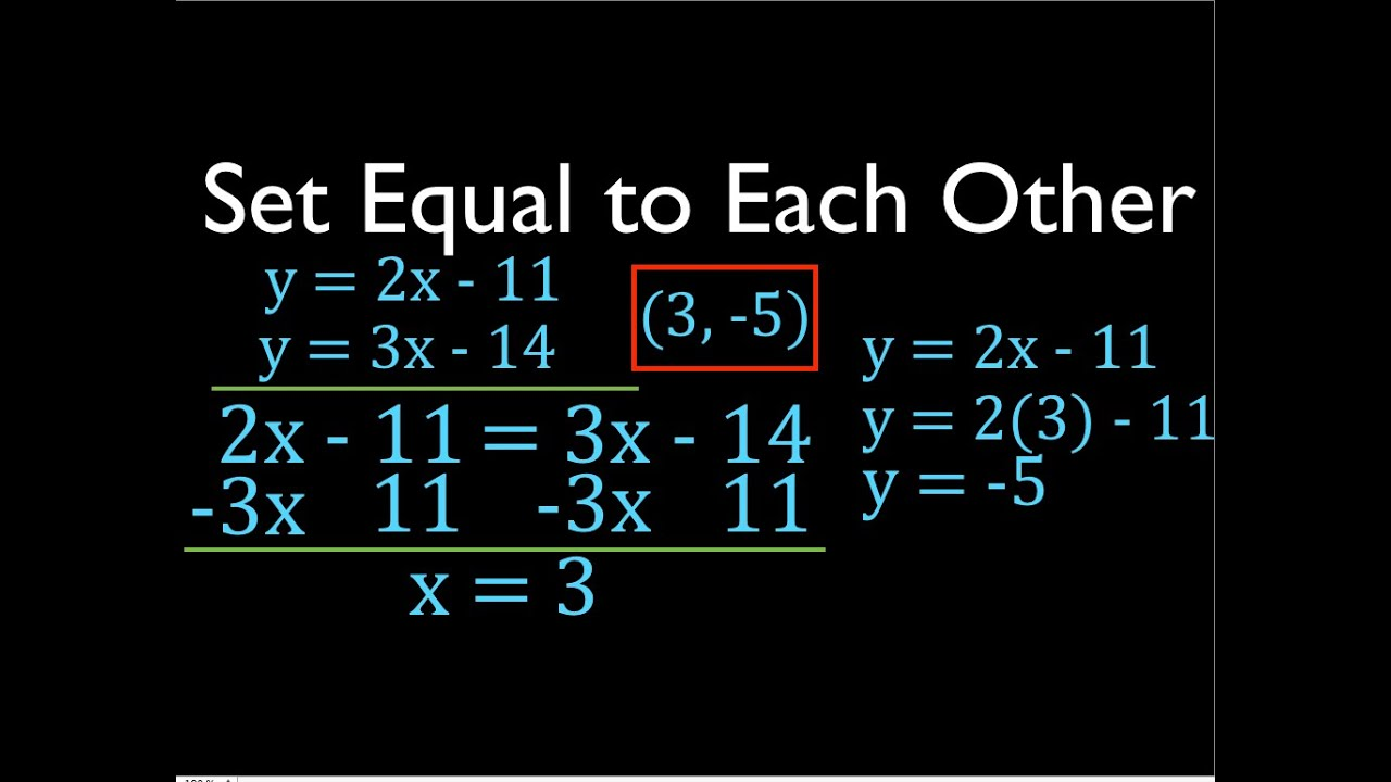 Set Equal To Each Other Systems Of Linear Equations No