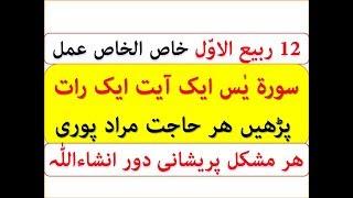 12 Rabiul Awal Wazifa | Surah Yasin Aik Ayat Aik Rat Ka Wazifa Har Hajat Aur Mushkal  Dur