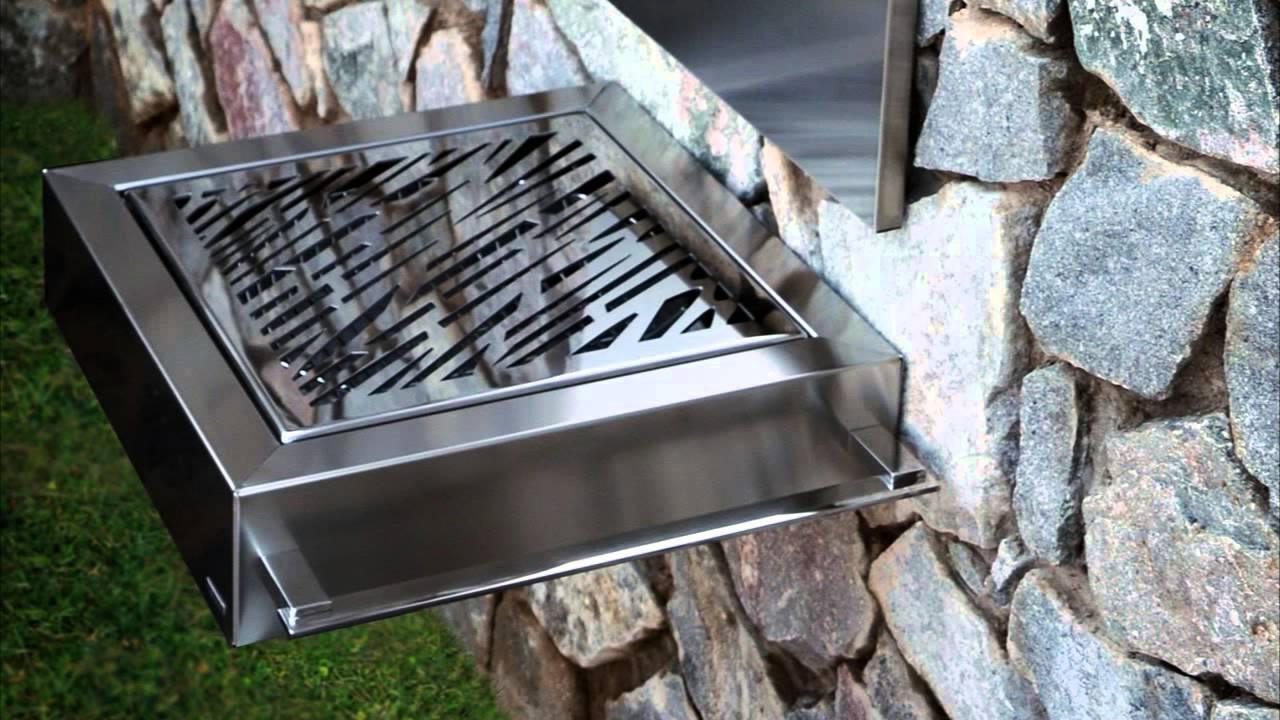 Barbacoas modernas de acero inoxidable para exteriores for Chimenea de gas en un piso
