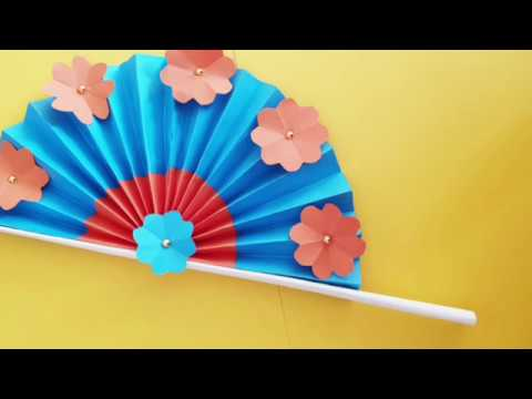 How to make hand paper fan/Chinese fan/Paper craft for school/paper craft ideas