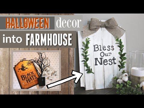 Transforming Halloween Decor | Halloween Decor Into Farmhouse Decor | Krafts by Katelyn