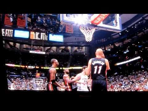 Zydrunas Ilgauskas throws ball at Zaza Pachulia.. Miami Heat vs Atlanta Hawks