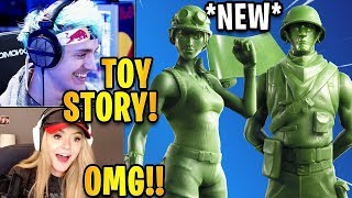 Streamers React to *NEW* Plastic Patroller & Toy Trooper Skins + Green Toy Wrap!| Fortnite