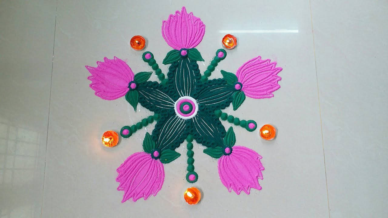 Easy creative lotus rangoli desigs with colours for diwali easy creative lotus rangoli desigs with colours for diwali festivals beautiful muggulu mightylinksfo