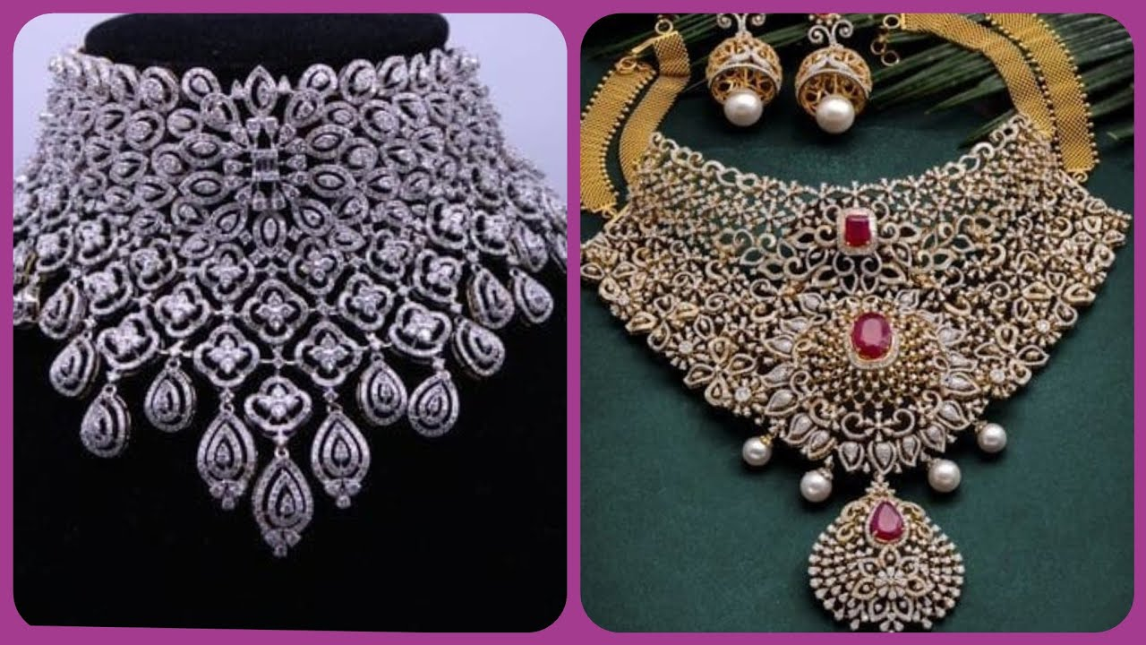 Latest Heavy Bridal Diamond Necklace Wonderful Long Short Necklace Designs New Necklace 2020 Youtube