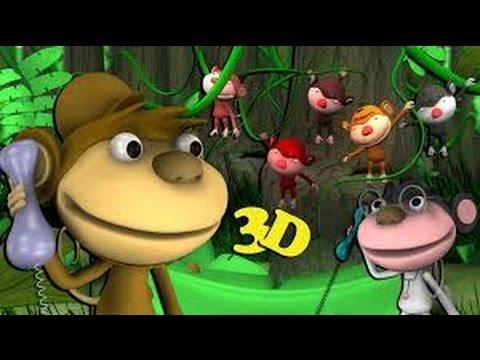 Barnsånger på svenska | Fem små apor hoppade i sängen 3D