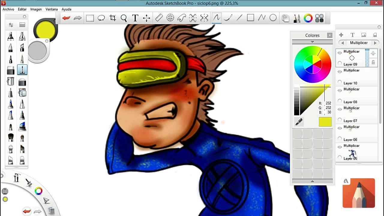 Autodesk Sketchbook pro -tutoriais desenho cyclop p 2