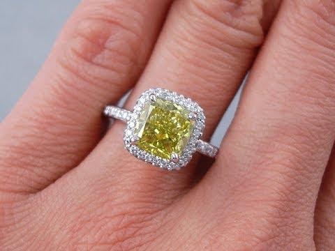 2.44 Ctw Cushion Cut Vivid Canary VS2 Diamond Engagement Ring    BigDiamondsUSA