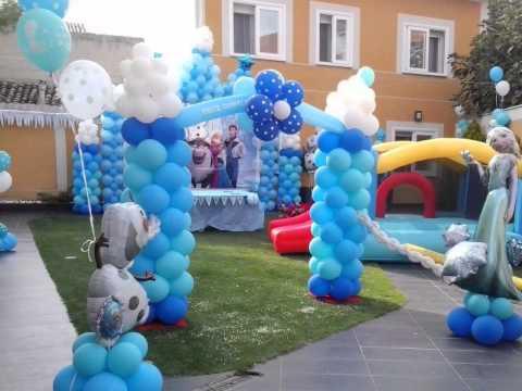 Decoracion con globos frozen youtube - Como adornar un jardin ...