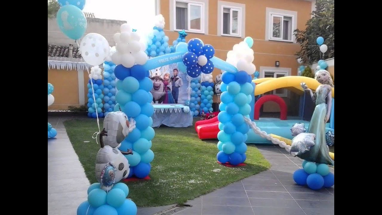 Decoracion con globos frozen youtube for Arreglos de salon con globos