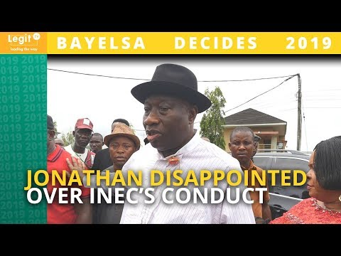 Bayelsa election: Jonathan expresses disappointment over INEC's conduct | Legit TV