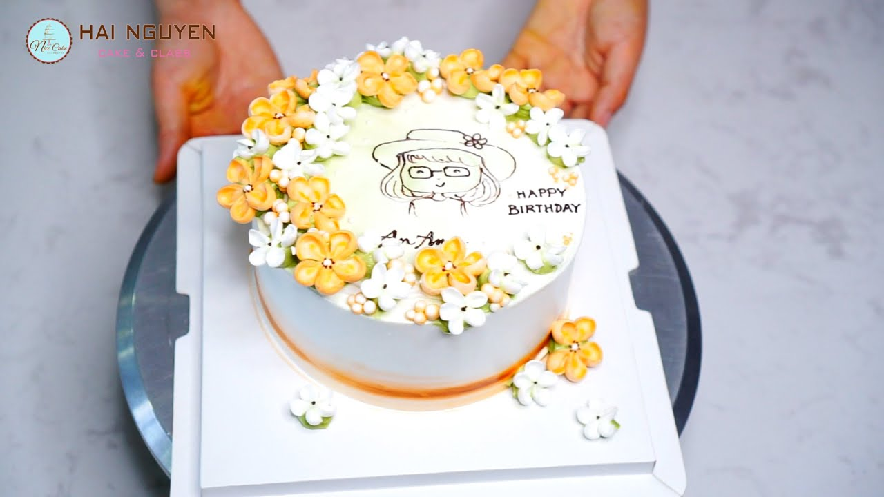 Amazing Decorate Beautiful A Grass Flower Cake   Bánh Trang Trí Hoa Cỏ Nhẹ Nhàng Xinh Xắn