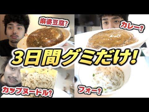 【超過酷?】グミにした物しか食べられない3日間生活!!カレー!?麻婆豆腐!?