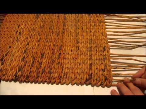 Плетение большого сундука из газетных трубочек. Урок 3.  Наращиваем стойки по периметру донышка