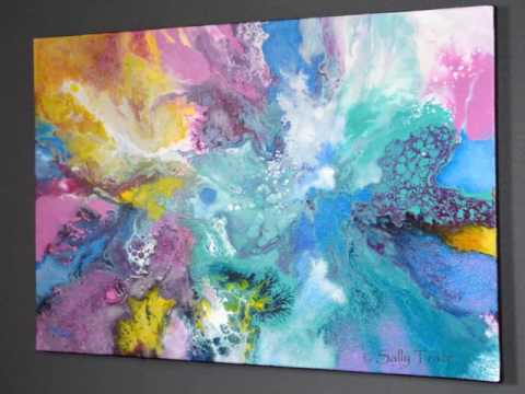 When the Angel Came, Original Modern Fluid Painting for Sale by Sally Trace