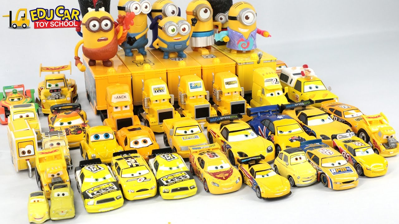 Cars colored yellow - Learning Color With Yellow Special Disney Pixar Cars Lightning Mcqueen Mack Truck For Kids Car Toys