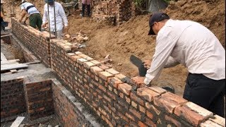 how Workers Install Bricks To Build A Solid Foundation For A Home - Build Houses