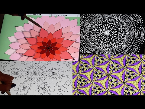 (ASMR) Satisfying, Soothing Kaleidoscope Drawing & Painting (Whispered)