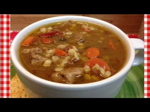 Slow Cooker Beef Barley Soup Recipe ~ Noreen's Kitchen