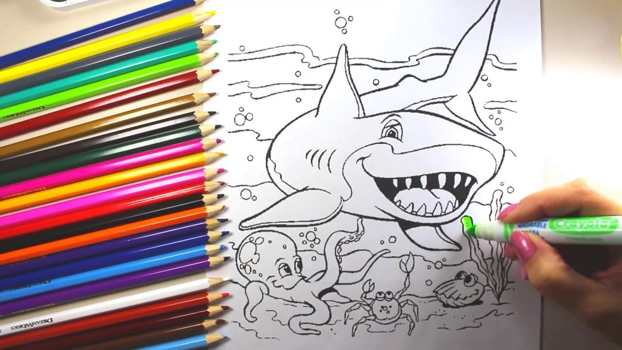 shark coloring drawing coloring page shark and sea views