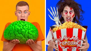 REAL VS HALLOWEEN FOOD CHALLENGE FOR 24 HOURS! DIY Easy Halloween Treats Pranks by 123 GO! CHALLENGE