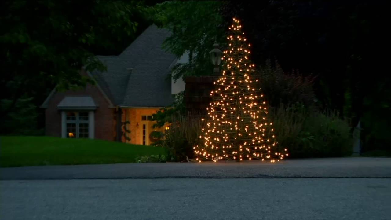 Pre-Lit LED 6' Fold Flat Outdoor Christmas Tree By Lori