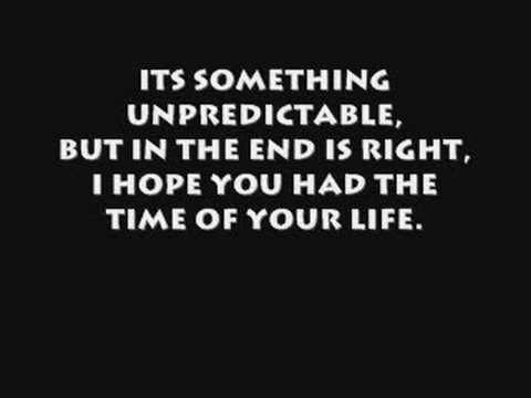 GREEN DAY - GREEN DAY-TIME OF YOUR LIFE LYRICS
