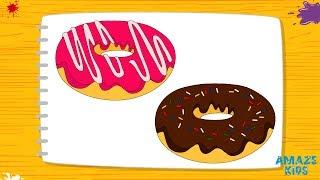 Как Нарисовать Пончик для Детей. Учимся Рисовать. Простые Рисунки Своими Руками. Уроки Рисования