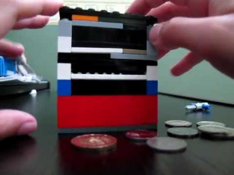 Lego coin bank with secret compartment youtube for 4 compartment piggy bank