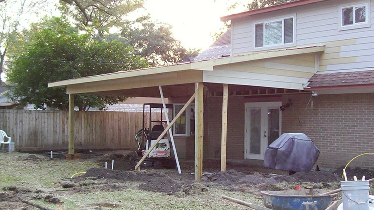 Patio cover construction youtube for Porch construction drawings