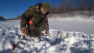Рыбалка в сильный мороз Поставил жерлицы Окунь долбит Часть 1