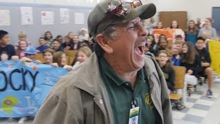 Students trick their custodian and he walks into surprise of his life!