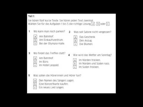 German Exam A2 Listening Part 1 Texts From To 3 New Pattern
