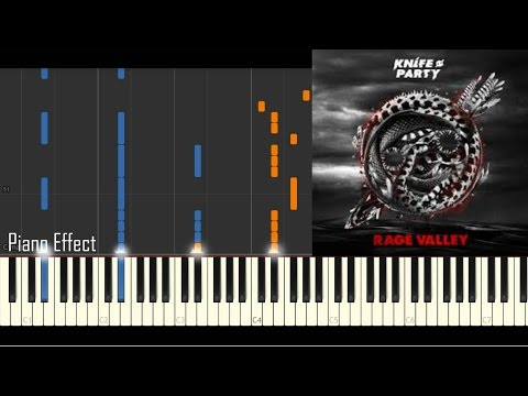 Knife Party - Rage Valley (Piano Tutorial Synthesia)