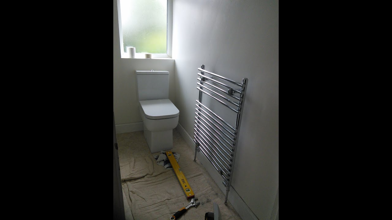 Diy how to install a towel radiator youtube for How to heat a small bathroom