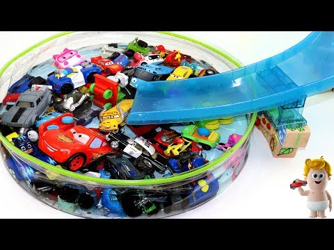 Learn Colors for Kids w/Disney cars Police vehicles Tayo in water Slide