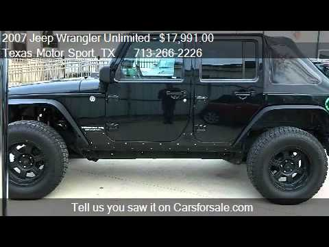 2007 jeep wrangler unlimited x 4dr suv 4wd for sale in houst youtube. Black Bedroom Furniture Sets. Home Design Ideas