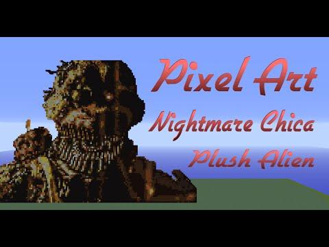 Minecraft Pixel Art SpeedBuild | Nightmare Chica FNAF 4