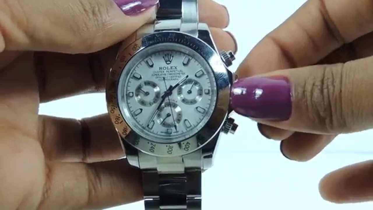 dcfce4cd2bb Relógio Rolex Daytona Branco com Prata Das Imports - YouTube