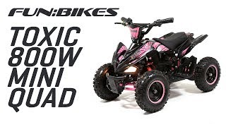 FunBikes Toxic 800w Black Pink Kids Electric Mini Quad Bike