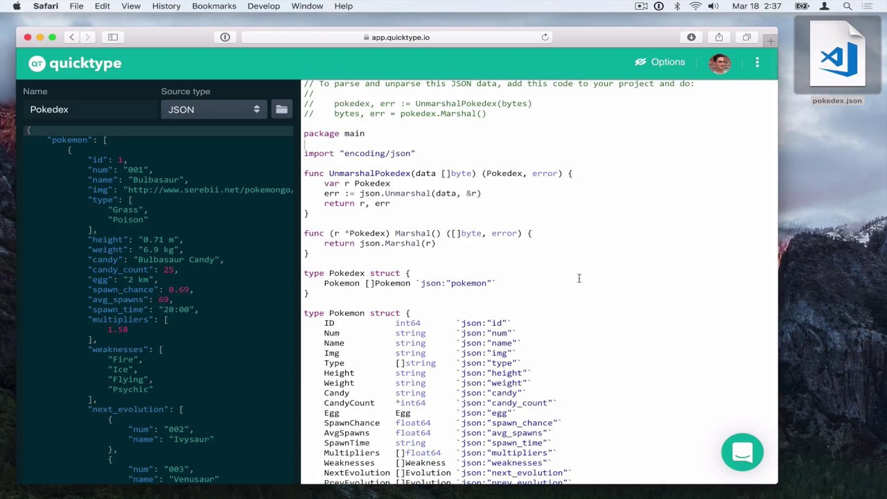 Generate awesome API code from Postman Collections • quicktype