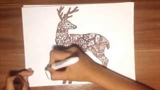 Рисую оленя в стиле дудлинг
