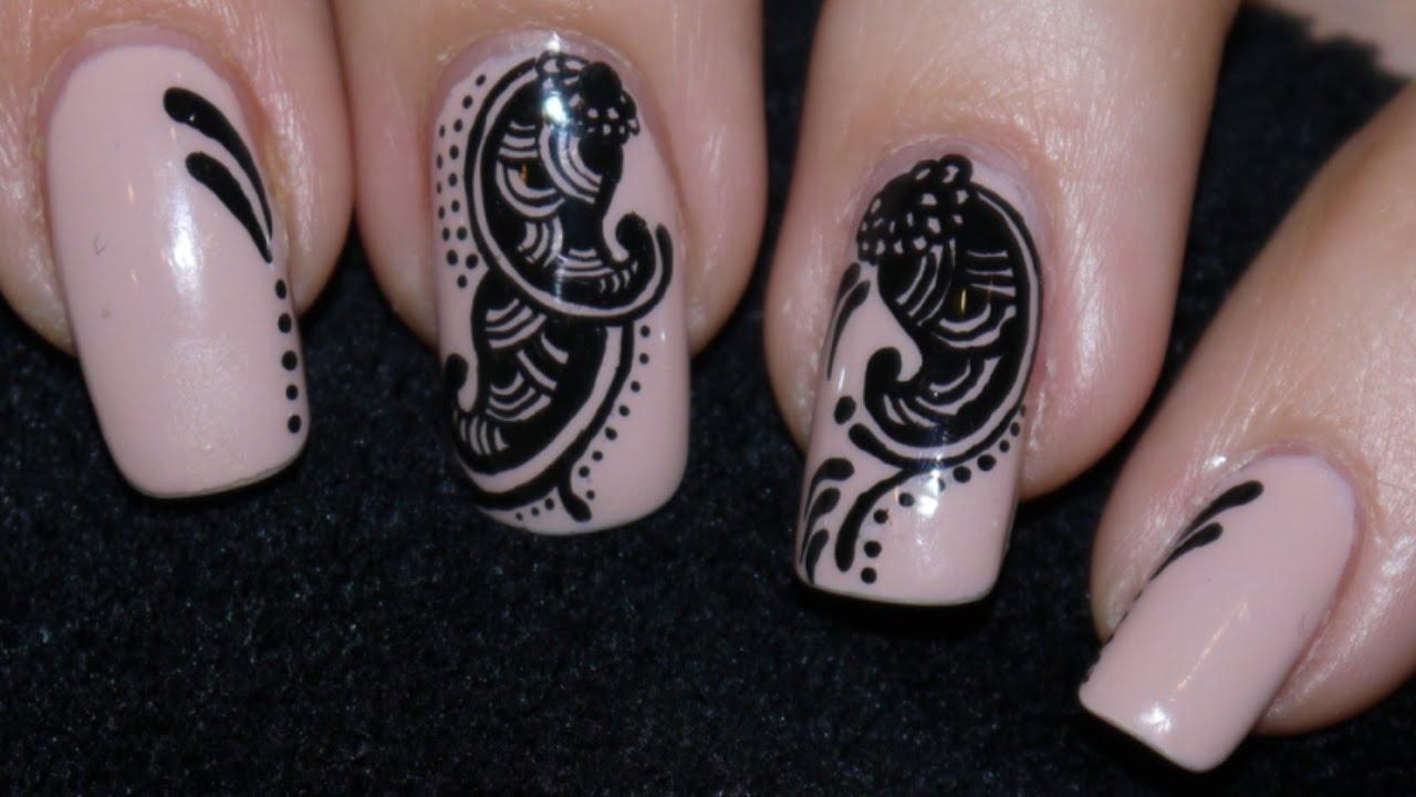 mehndi inspired nail art indian