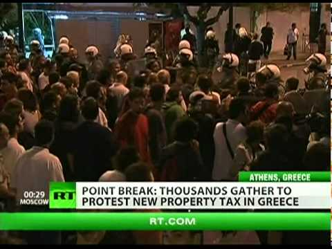 Thousands protest property tax in Greece