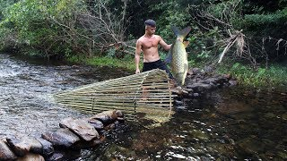 Primitive Technology: Big Fish Trap in The Forest Video