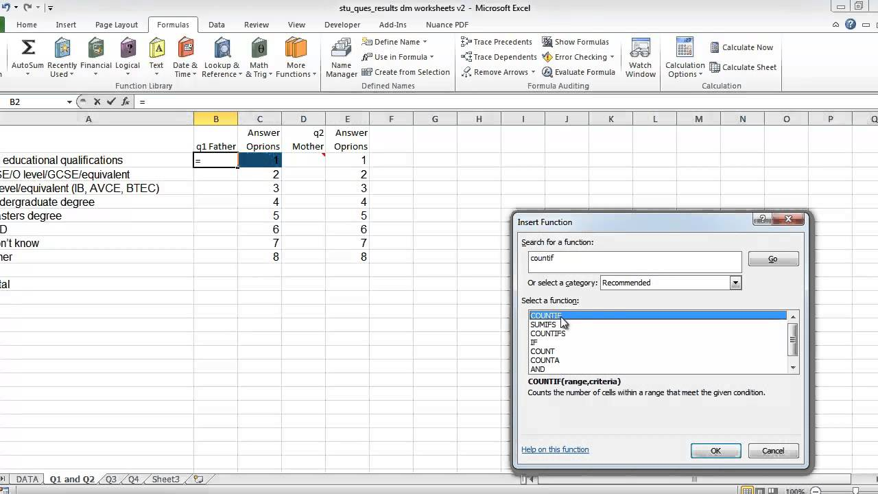 excel and questionnaires how to enter the data and create the charts youtube