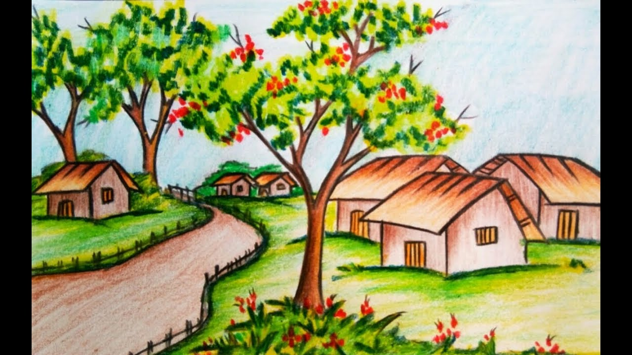 How to draw a landscape / scenery of spring season with ...