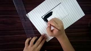 How to draw 3D stairs in a hole - 3D trick art on paper